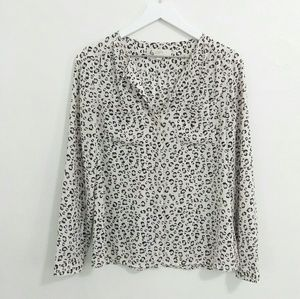 LOFT Ivory Leopard Print Button Up Blouse